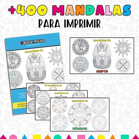 Bonitos mandalas para imprimir y colorear para niños de preescolar o Infantil y Primaria.