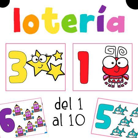 Lotería de números para niños para imprimir con números del 1 al 10